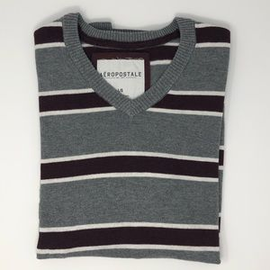 Aeropostale V-Neck Striped Sweater Size L
